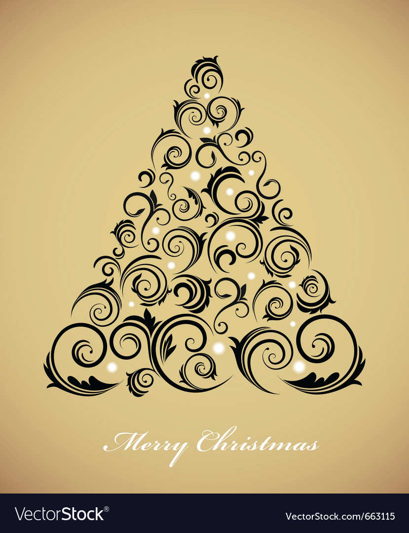 Vintage christmas tree with retro ornaments vector | Price: 1 Credit (USD $1)