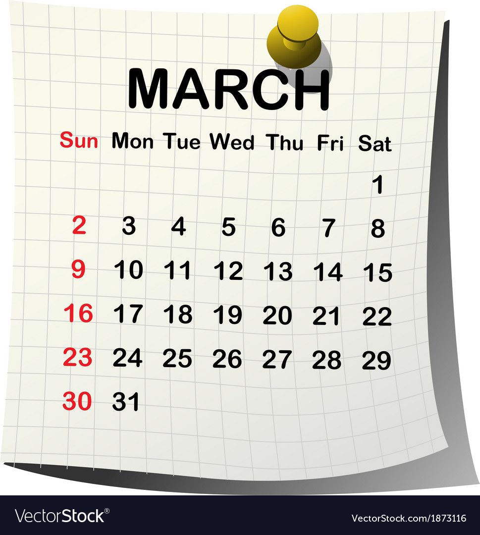 2014 paper calendar for march vector | Price: 1 Credit (USD $1)