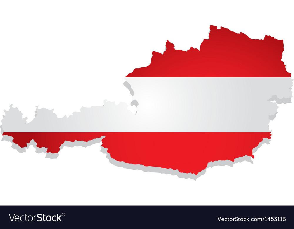 Austria flag map vector | Price: 1 Credit (USD $1)