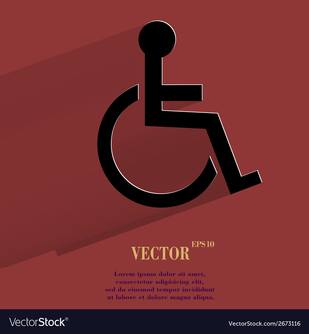Disabled flat modern web button with long shadow vector | Price: 1 Credit (USD $1)