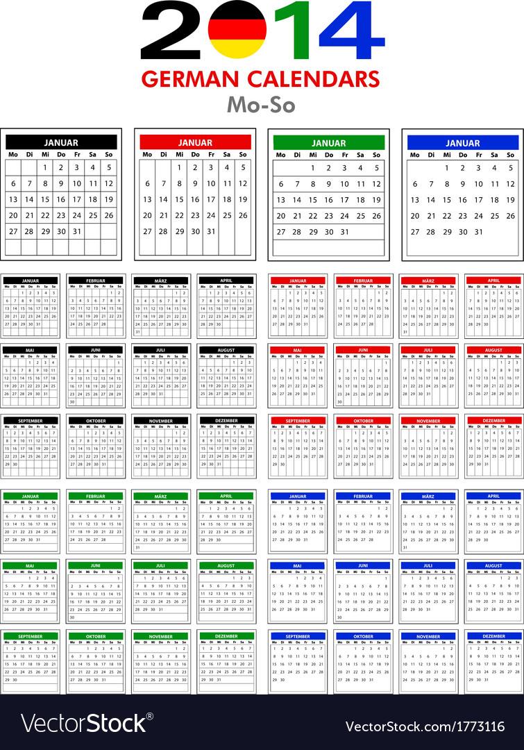 German calendar 2014 vector | Price: 1 Credit (USD $1)