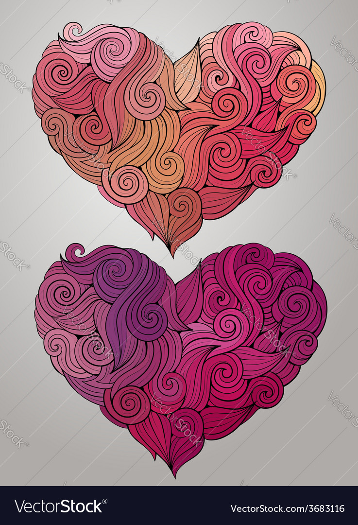 Hand drawn curled heart set vector | Price: 1 Credit (USD $1)
