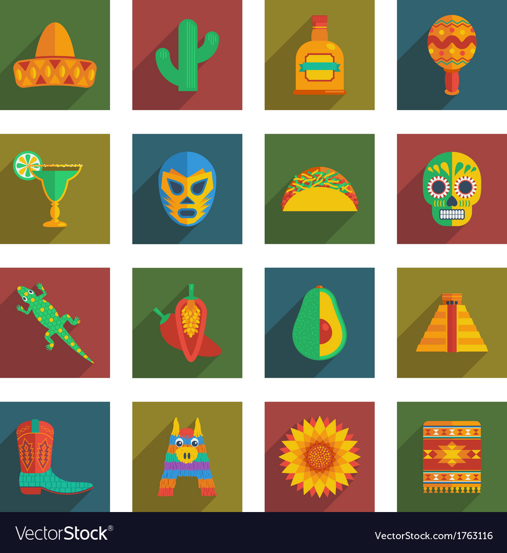 Mexican themed icons vector | Price: 1 Credit (USD $1)