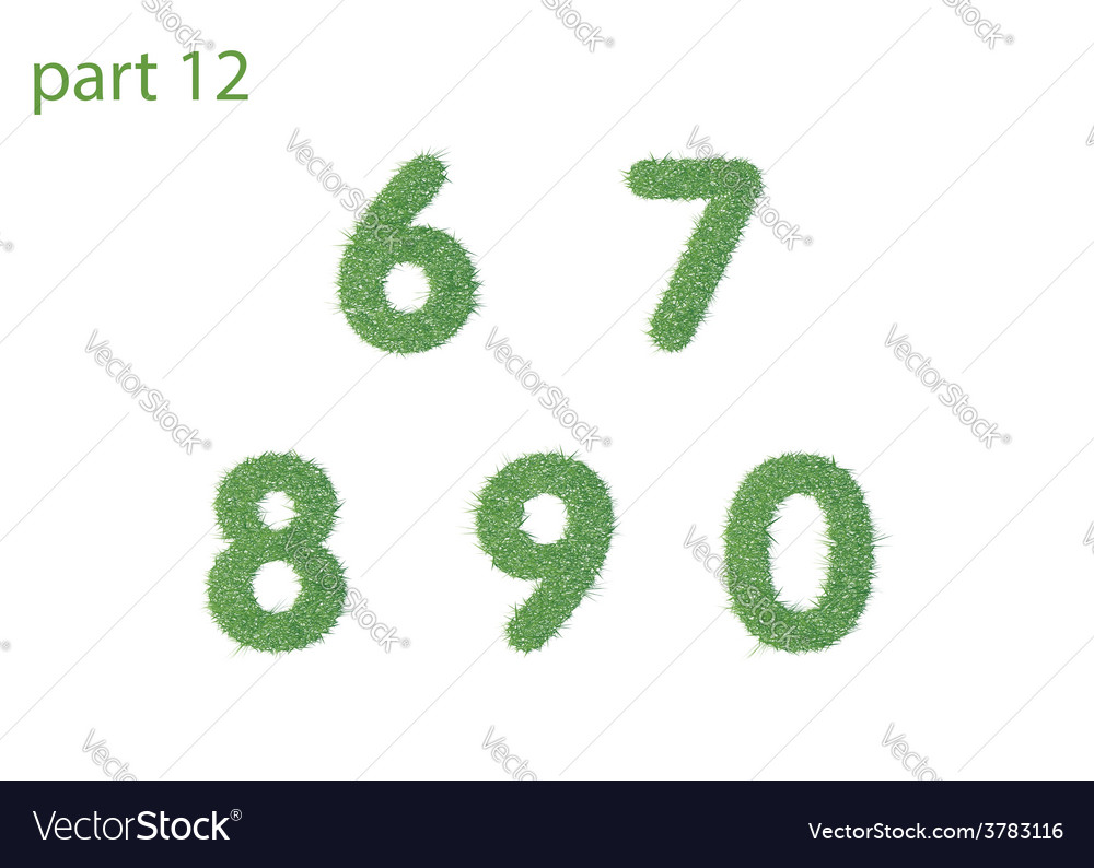 Numbers text of green grass part two vector   Price: 1 Credit (USD $1)