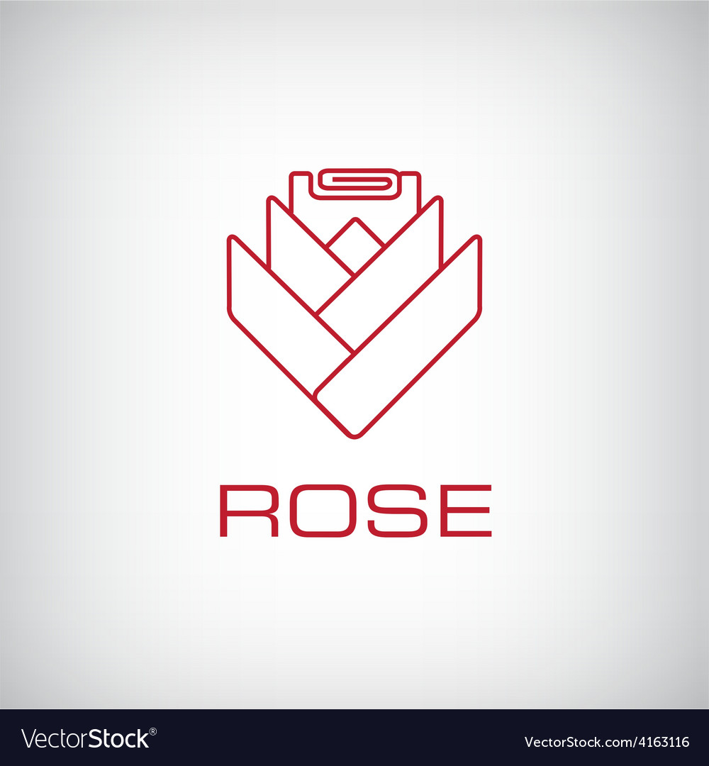 Rose flower outline icon vector | Price: 1 Credit (USD $1)