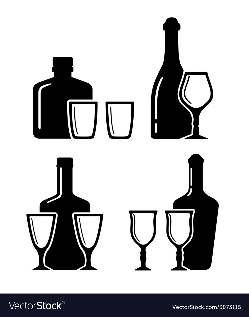 Set alcohol beverage icons with bottle and glass vector | Price: 1 Credit (USD $1)