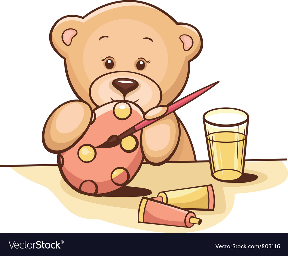 Teddy bear with easter egg vector | Price: 3 Credit (USD $3)