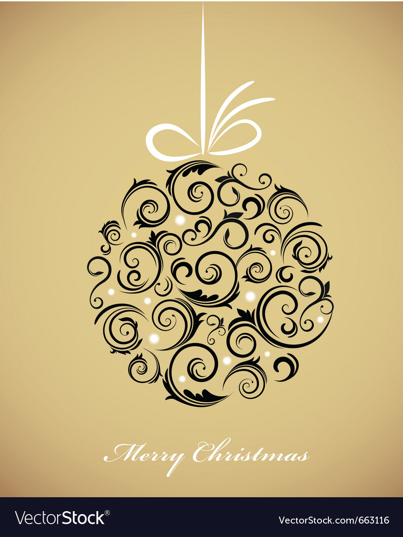 Vintage christmas ball with retro ornaments vector | Price: 1 Credit (USD $1)