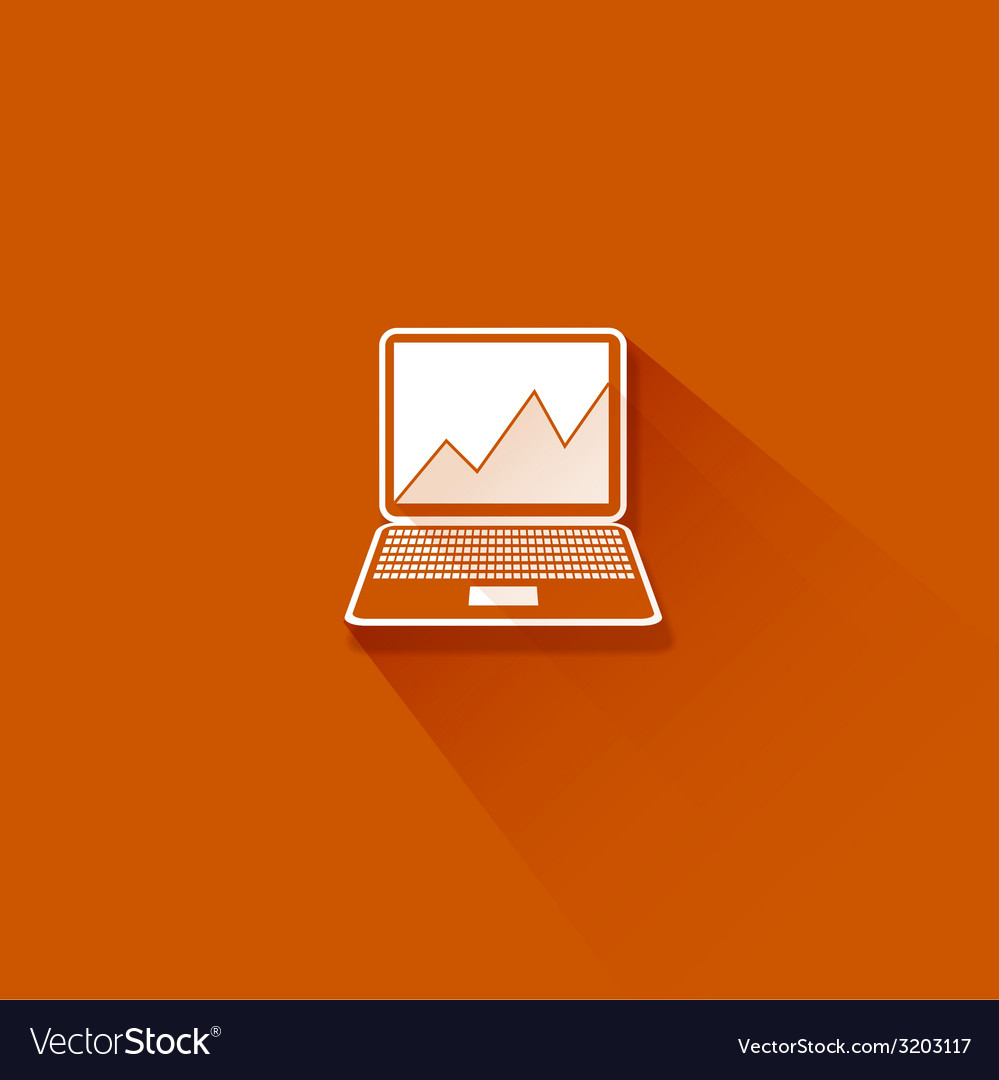 Abstract flat long shadow laptop with graph vector | Price: 1 Credit (USD $1)
