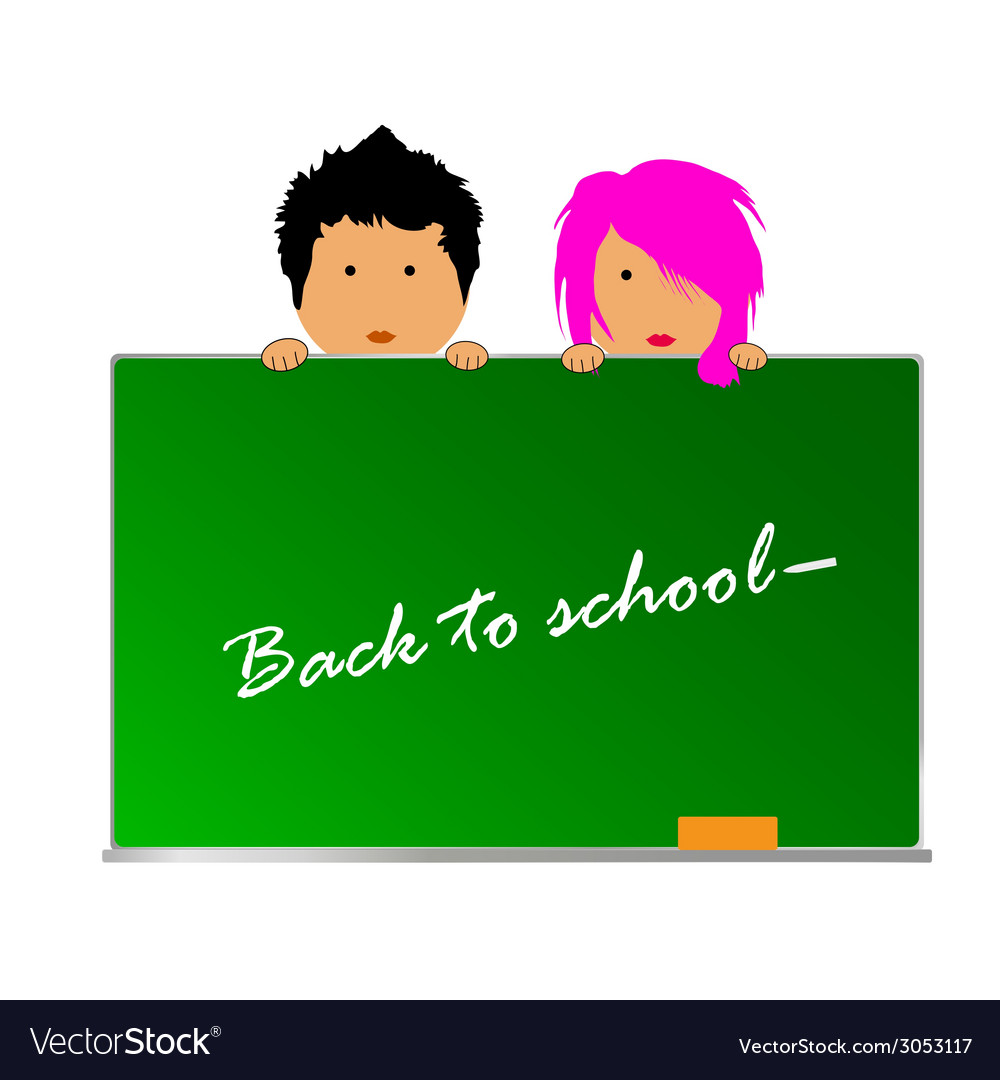 Back to school with children color vector | Price: 1 Credit (USD $1)