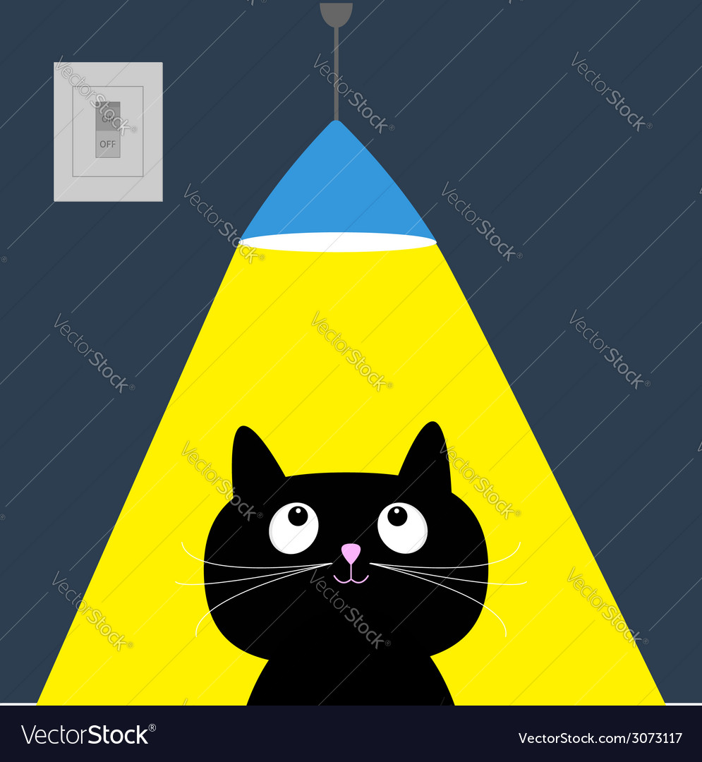 Black cat and ceiling light lamp yellow ray of vector | Price: 1 Credit (USD $1)