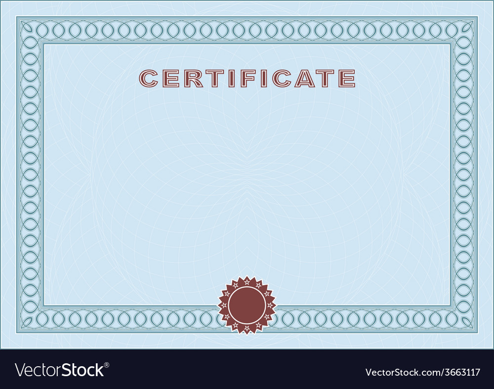 Blue blank certificate vector | Price: 1 Credit (USD $1)