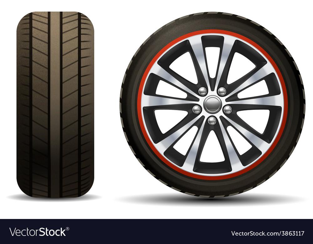 Car wheel realistic vector   Price: 1 Credit (USD $1)