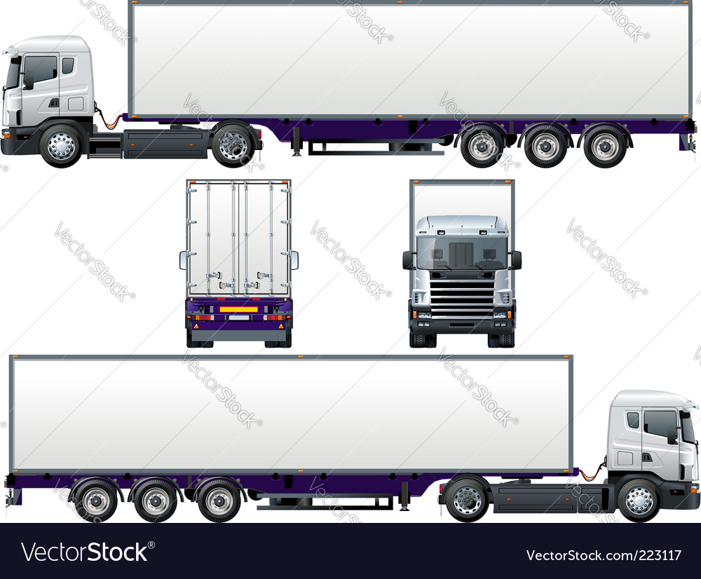 Cargo semi truck vector | Price: 1 Credit (USD $1)