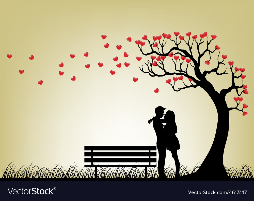 Dating couple silhouette under love tree vector | Price: 1 Credit (USD $1)
