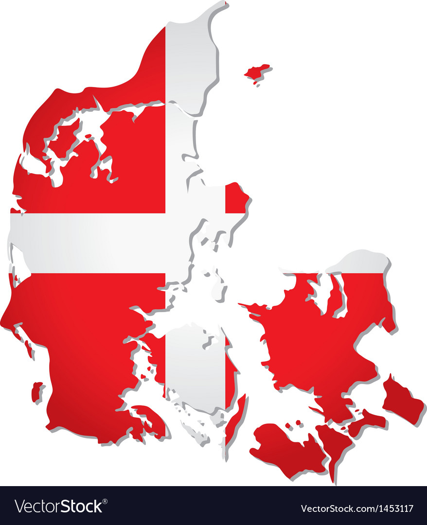Denmark flag map vector | Price: 1 Credit (USD $1)