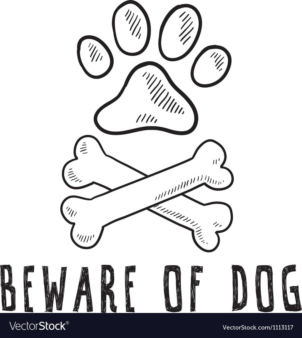 Doodle pet dog beware of dog bone paw print vector | Price: 1 Credit (USD $1)