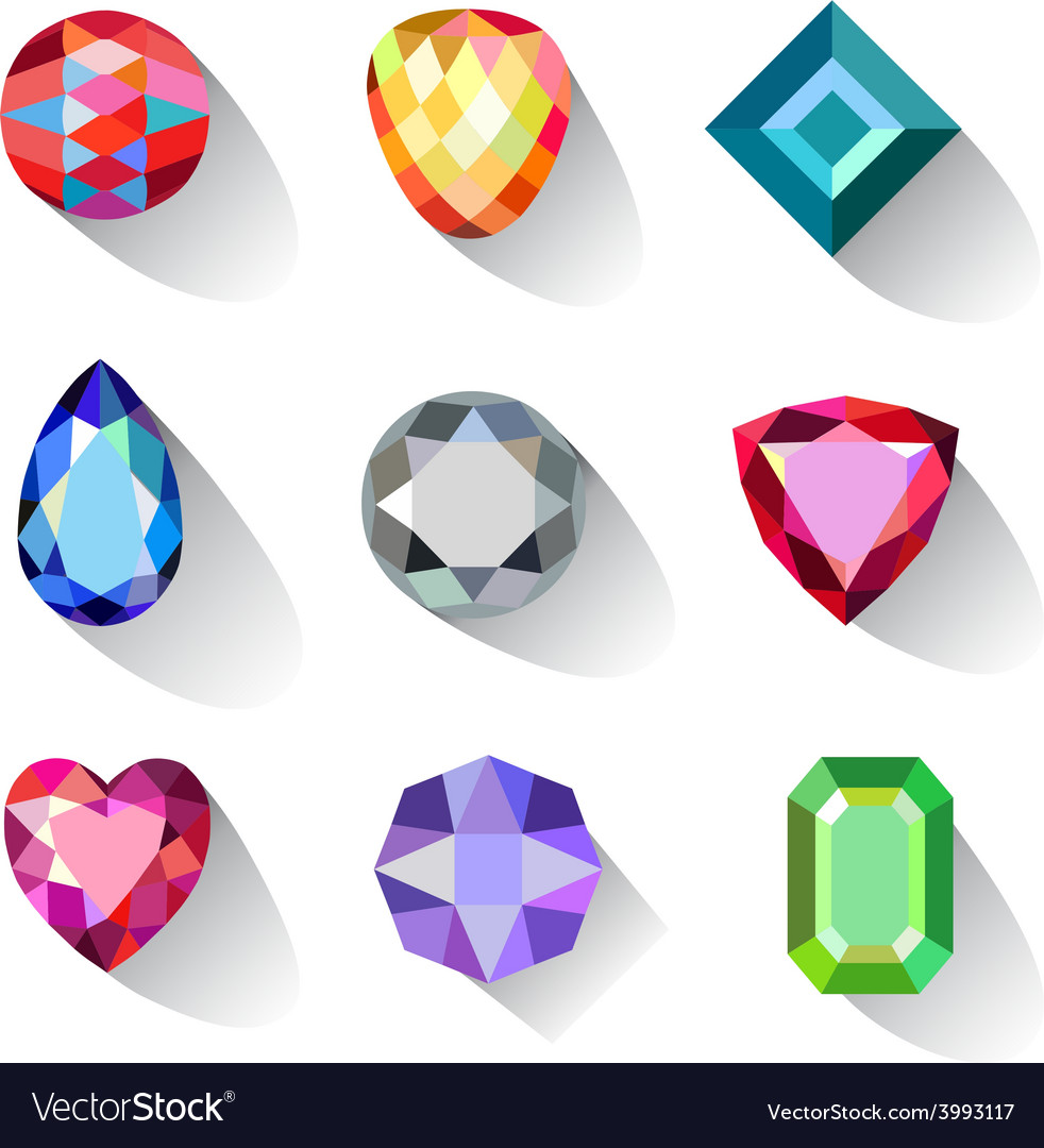 Flat style long shadow colored gems cuts icons vector | Price: 1 Credit (USD $1)