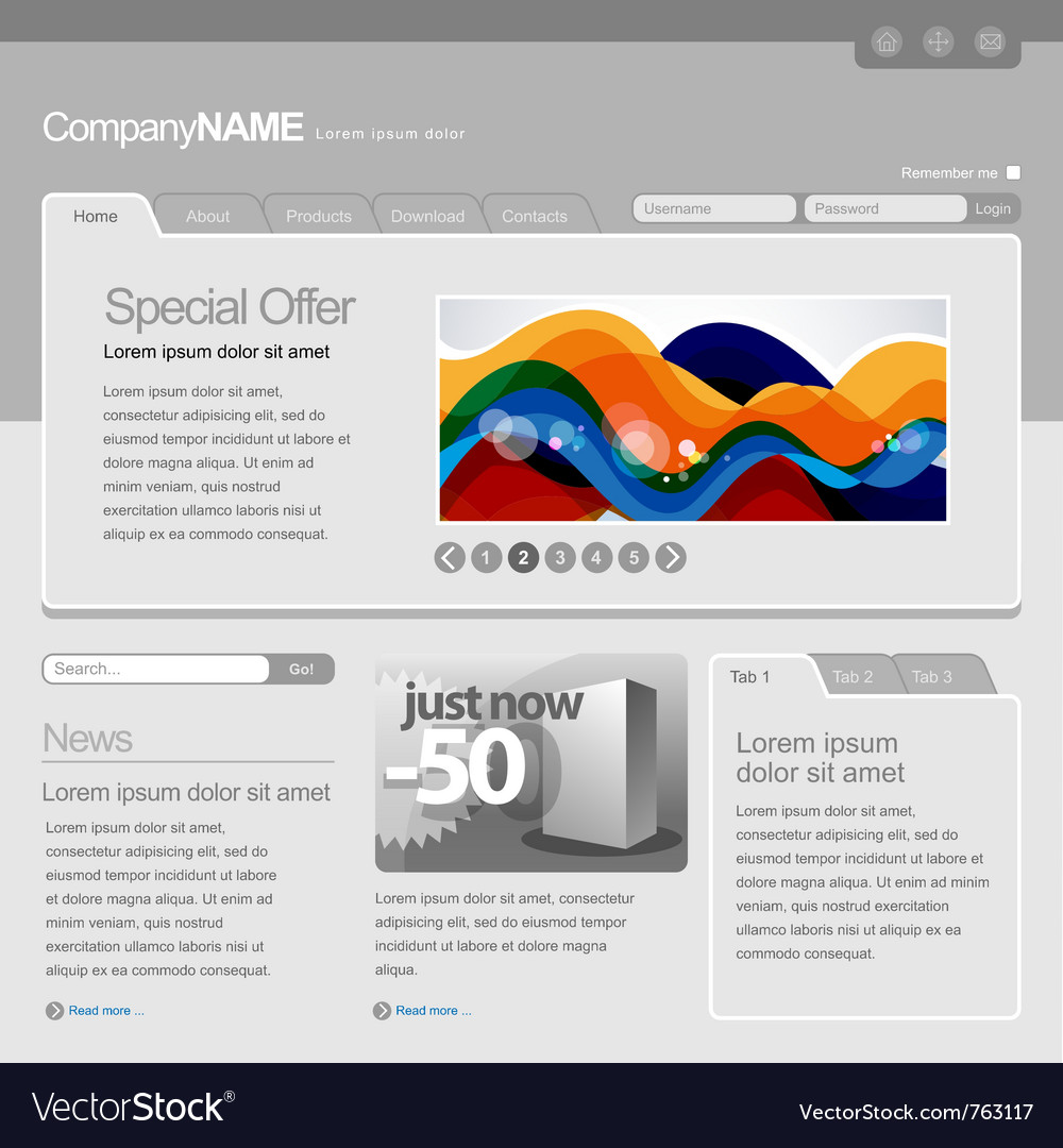 Gray website template vector | Price: 3 Credit (USD $3)
