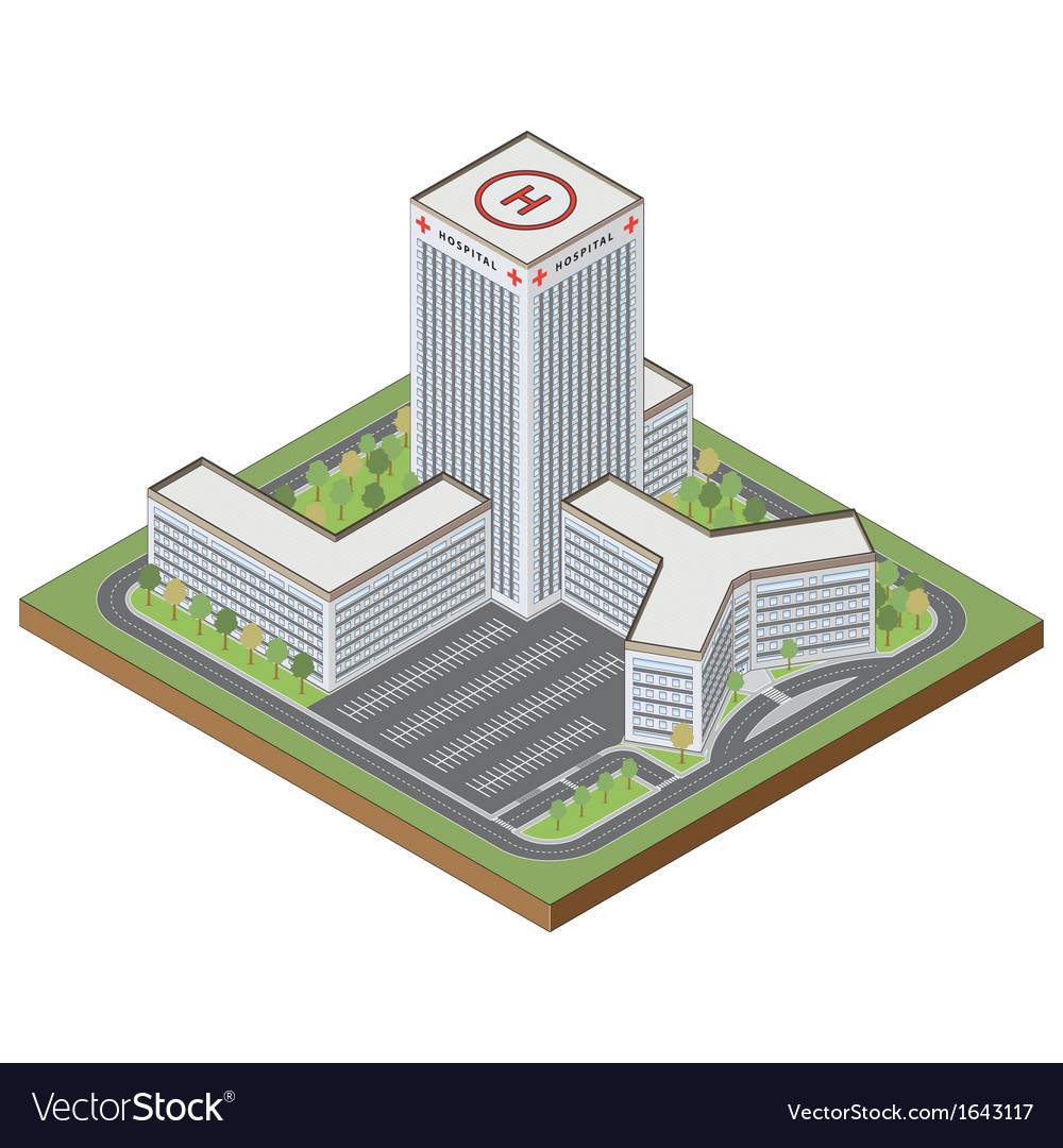 Isometric hospital building vector | Price: 1 Credit (USD $1)