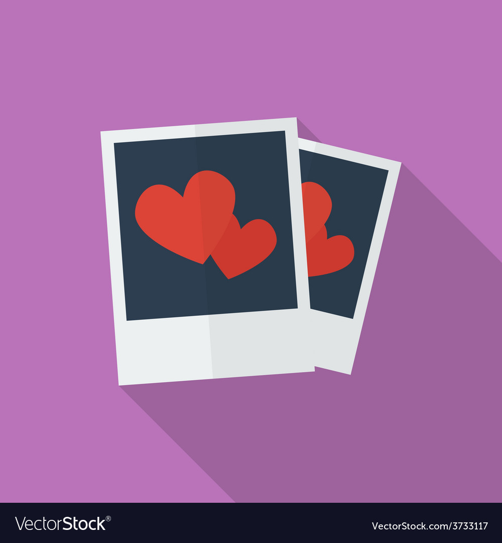Photos with hearts flat style icon vector   Price: 1 Credit (USD $1)