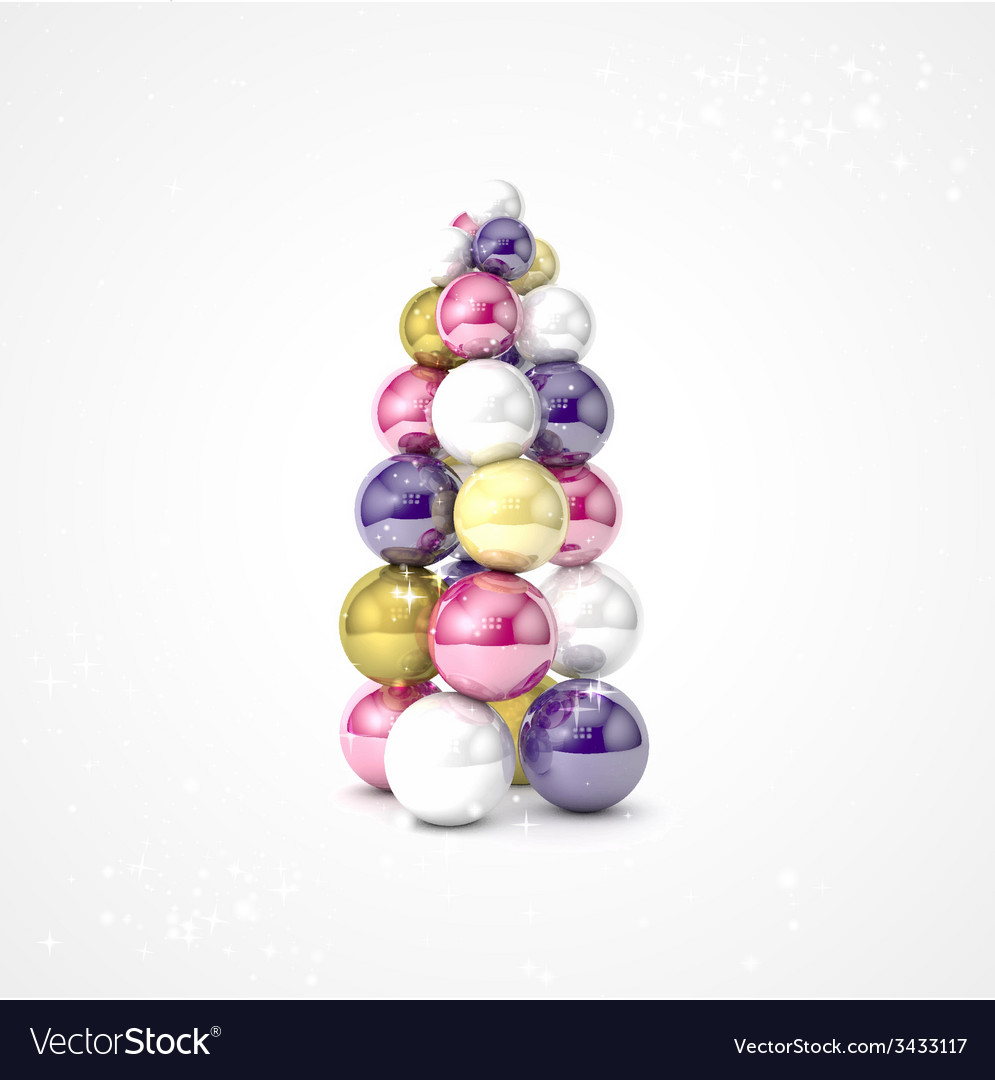 Realistic christmas tree made from balls vector | Price: 1 Credit (USD $1)