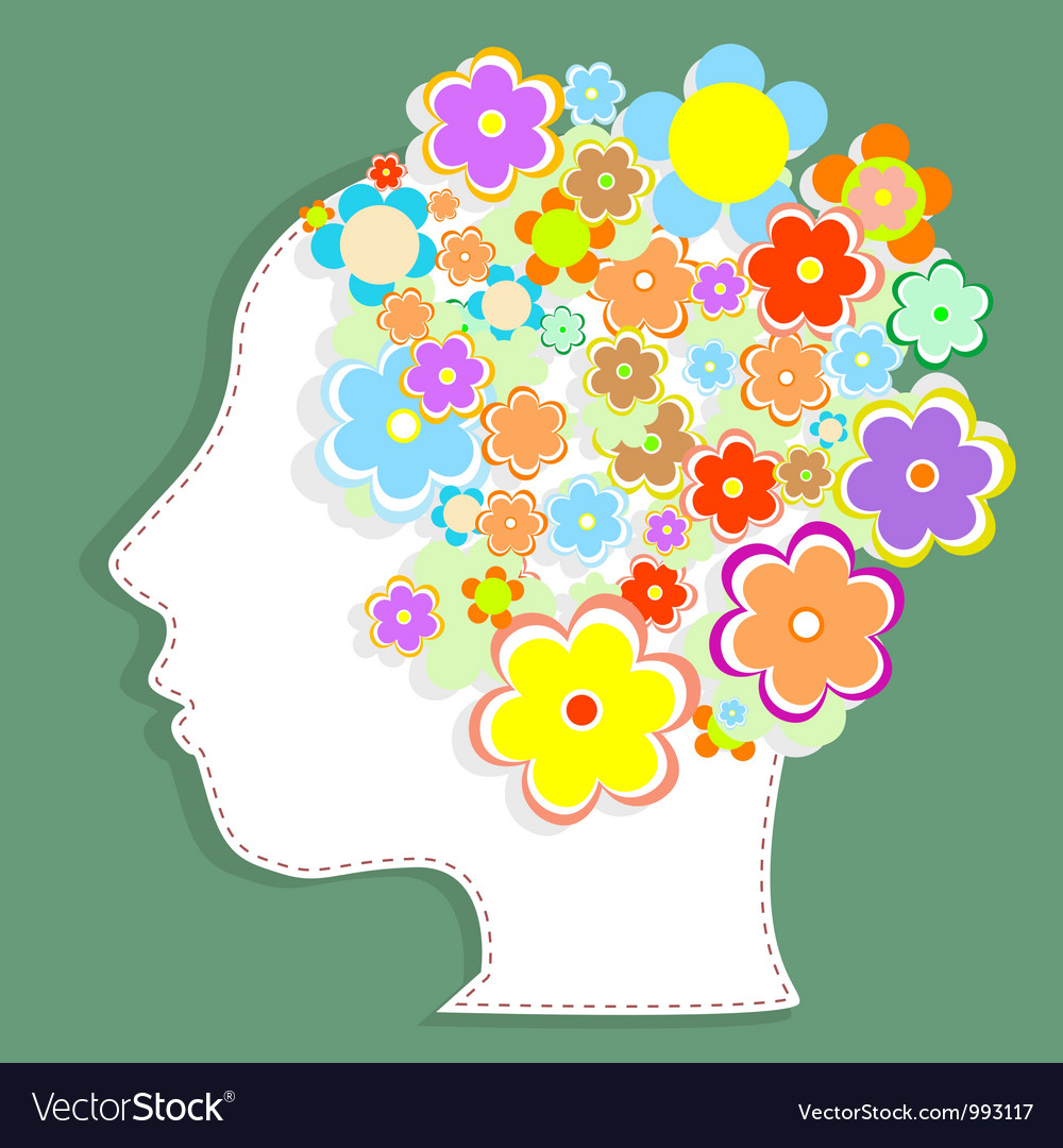 Silhouette womans head filled with cute flowers vector | Price: 1 Credit (USD $1)