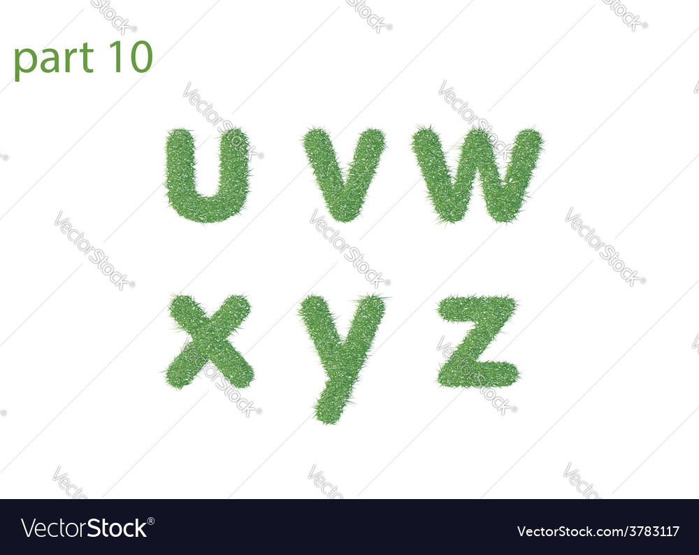 Small letter text of green grass part five vector | Price: 1 Credit (USD $1)