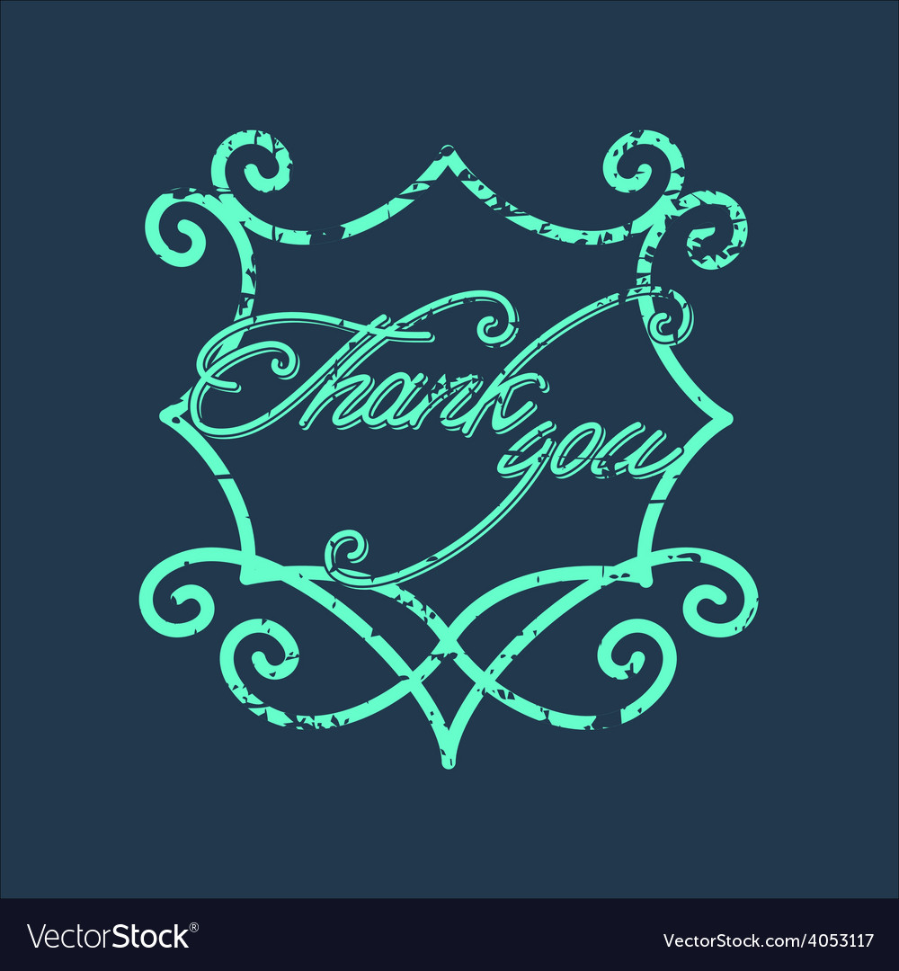 Vintage thank you and graceful floral monogram vector | Price: 1 Credit (USD $1)
