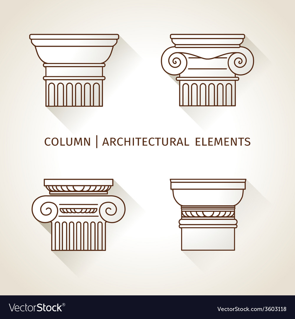 Brown linear icons columns flat with long shadows vector | Price: 1 Credit (USD $1)