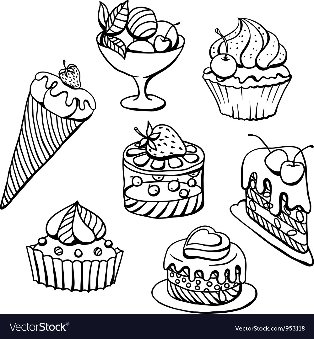 Cupcakes icecream sketch vector | Price: 1 Credit (USD $1)