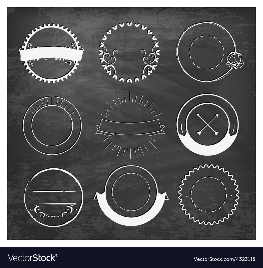 Editable vintage badges and labels on chalkboard vector | Price: 1 Credit (USD $1)