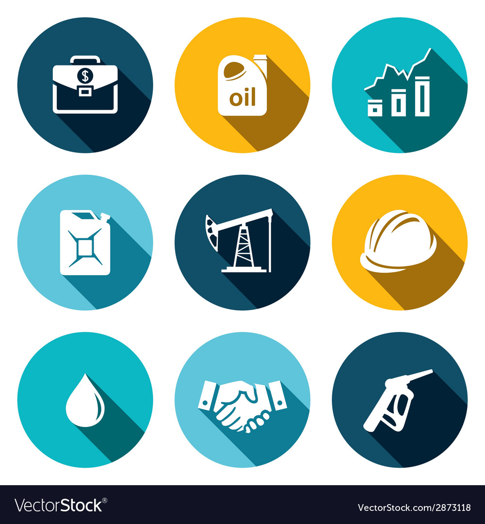Petroleum industry flat icon collection vector | Price: 1 Credit (USD $1)