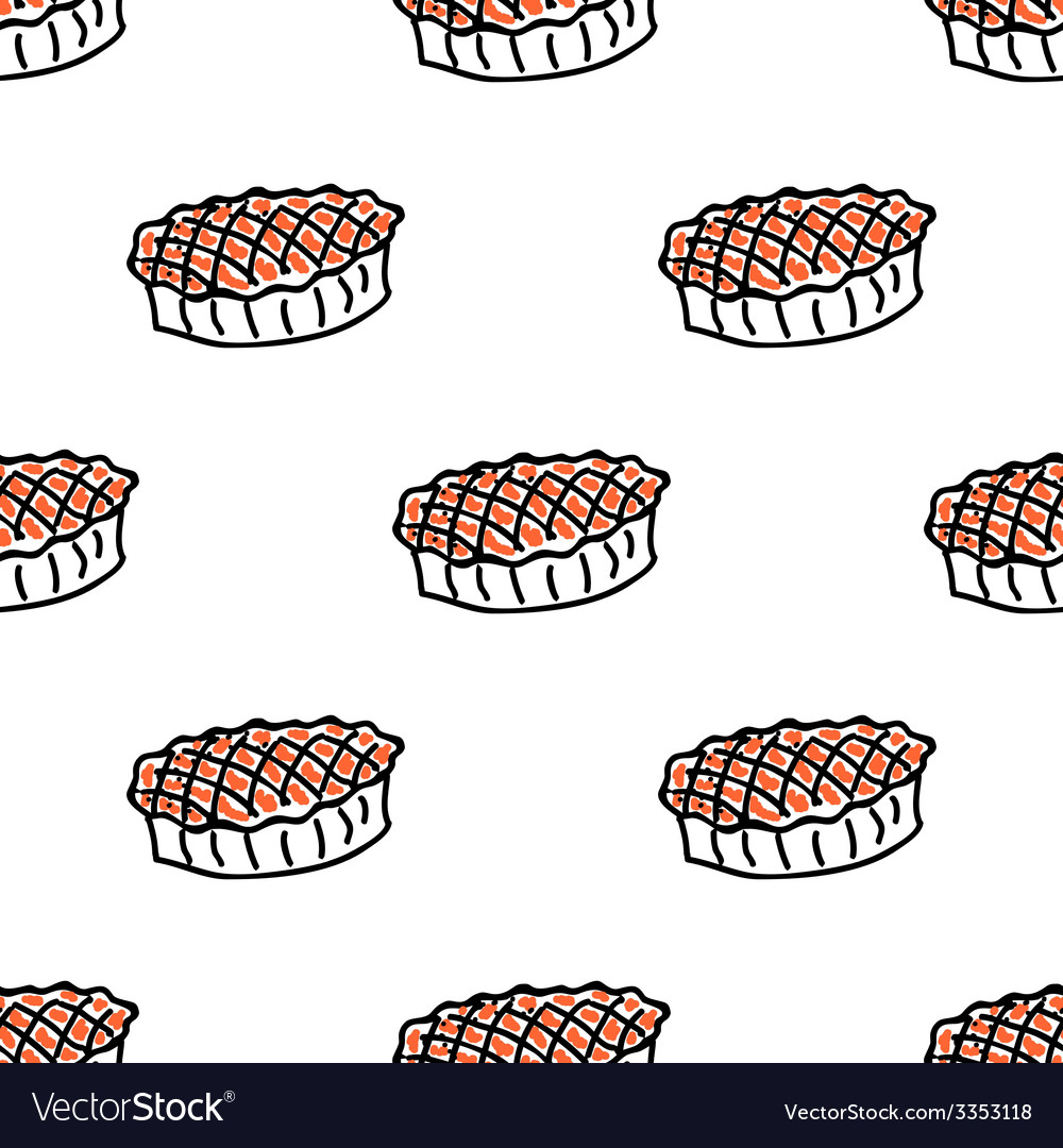 Seamless pattern with doodle pies vector | Price: 1 Credit (USD $1)