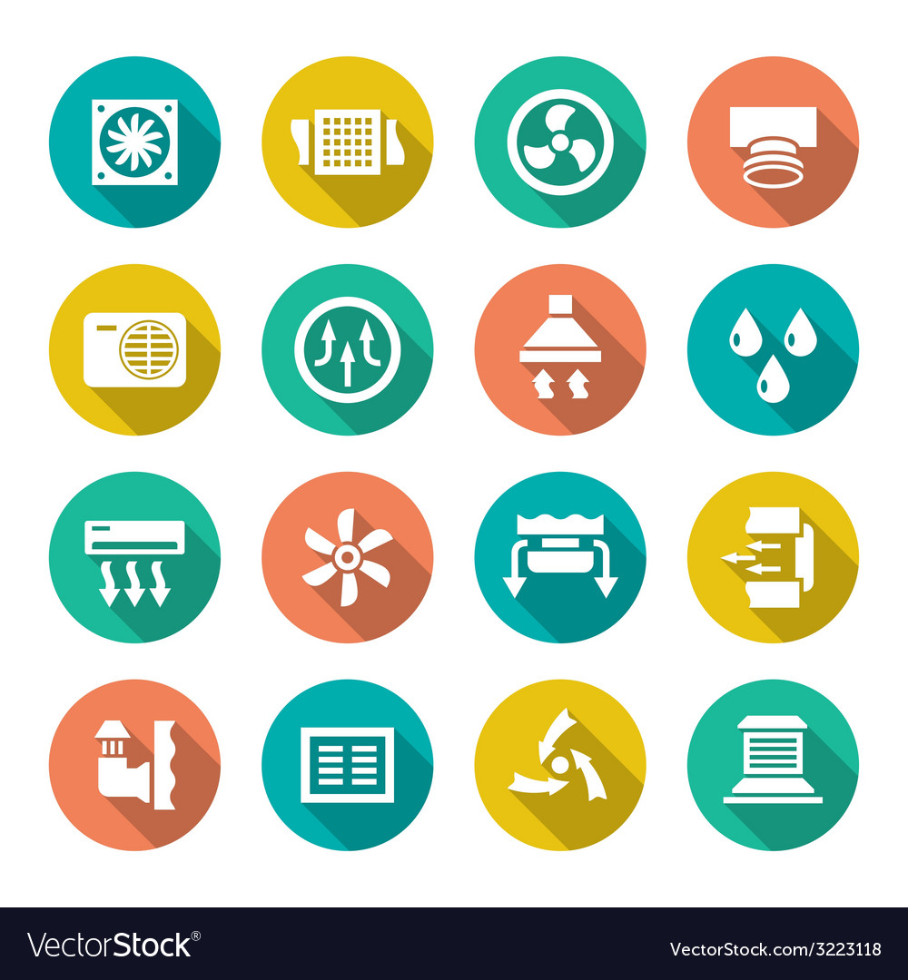 Set flat icons of ventilation and conditioning vector | Price: 1 Credit (USD $1)