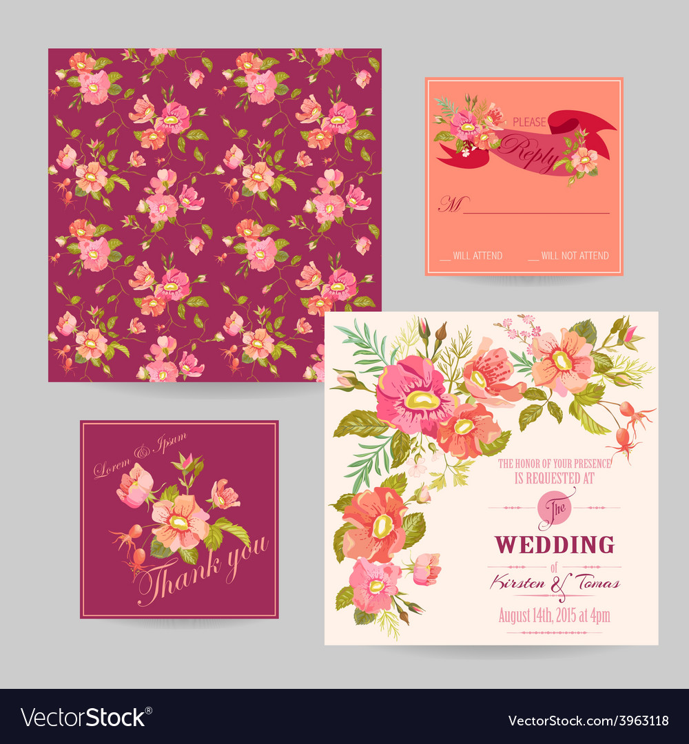 Set of wedding floral invitation cards vector | Price: 1 Credit (USD $1)