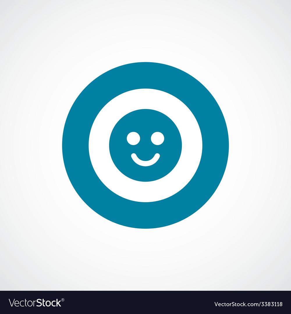 Smile bold blue border circle icon vector | Price: 1 Credit (USD $1)