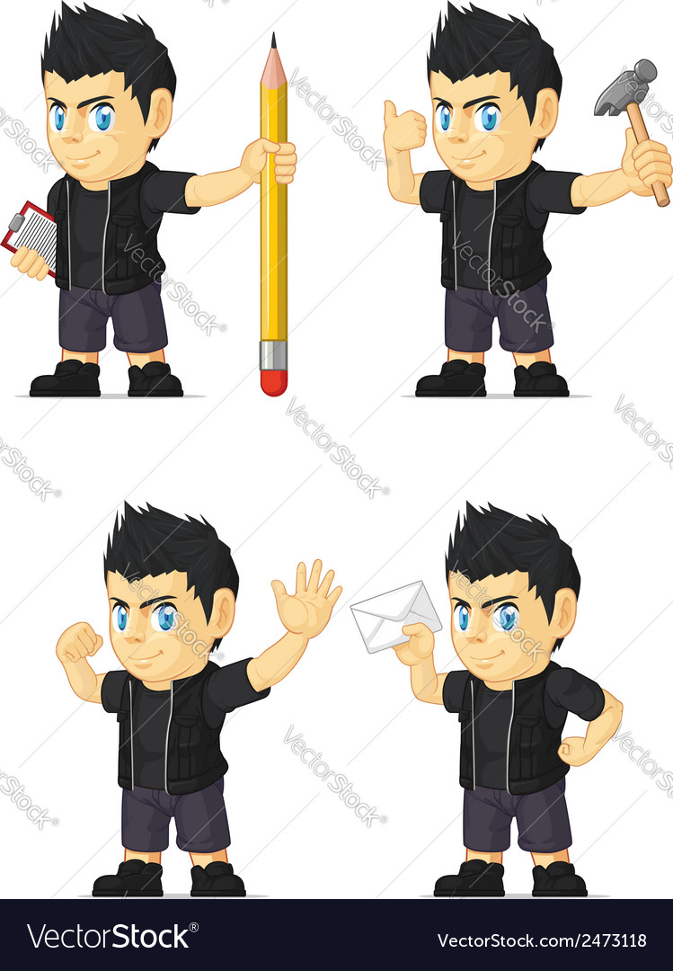 Spiky rocker boy customizable mascot 10 vector   Price: 1 Credit (USD $1)