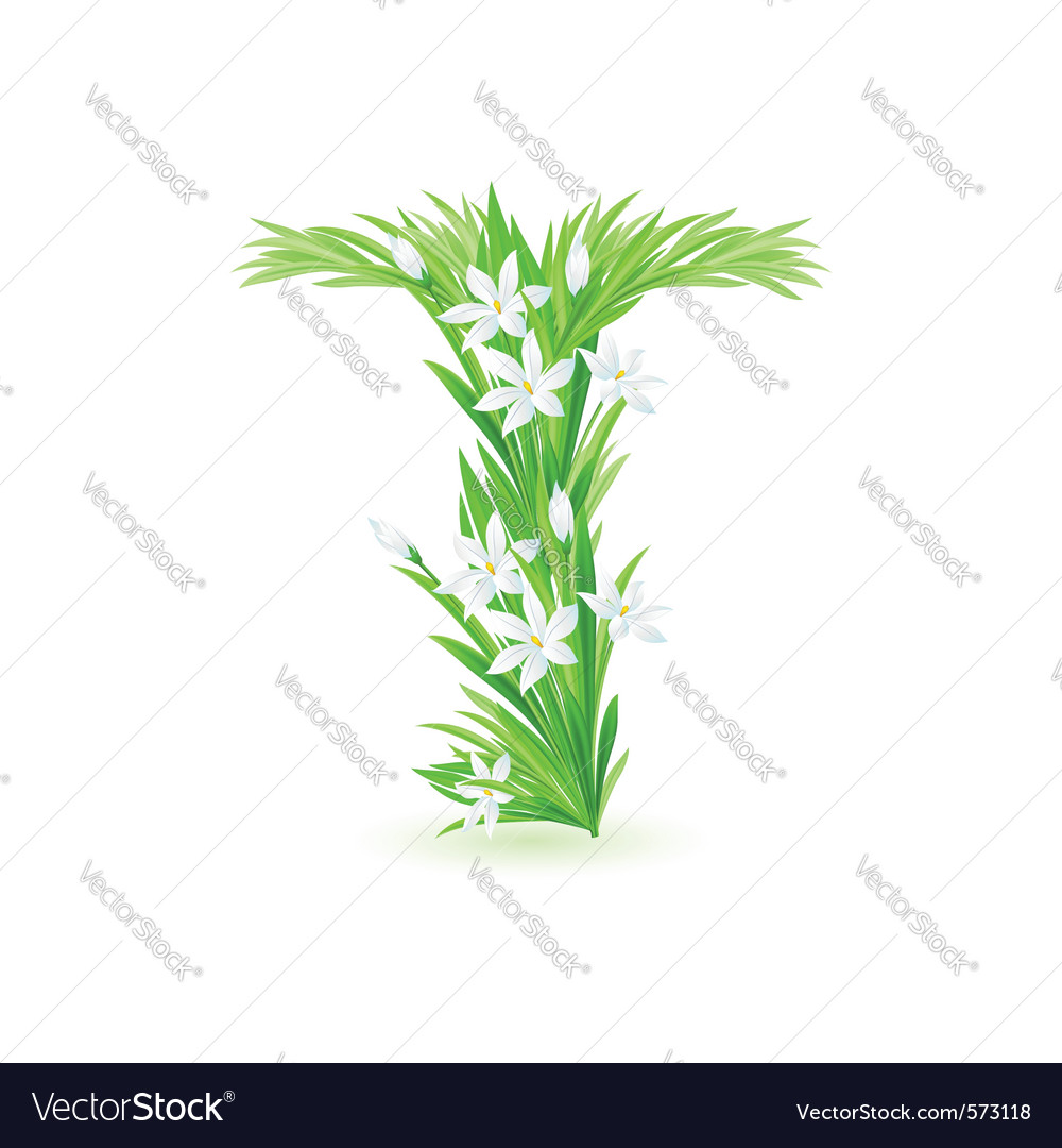 Spring flowers alphabet t vector | Price: 1 Credit (USD $1)