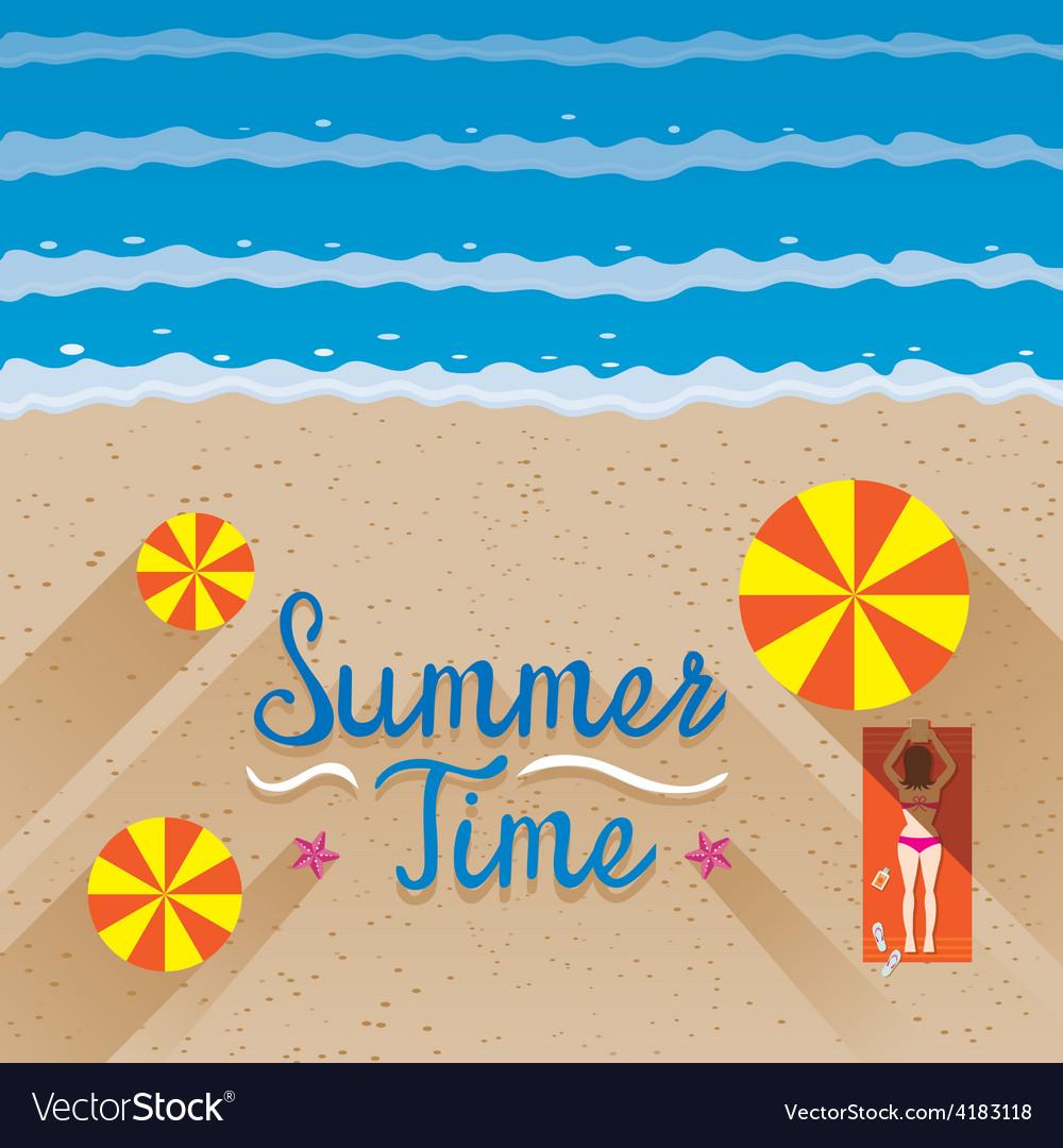 Summer woman with bikini sunbathe on the beach vector   Price: 1 Credit (USD $1)