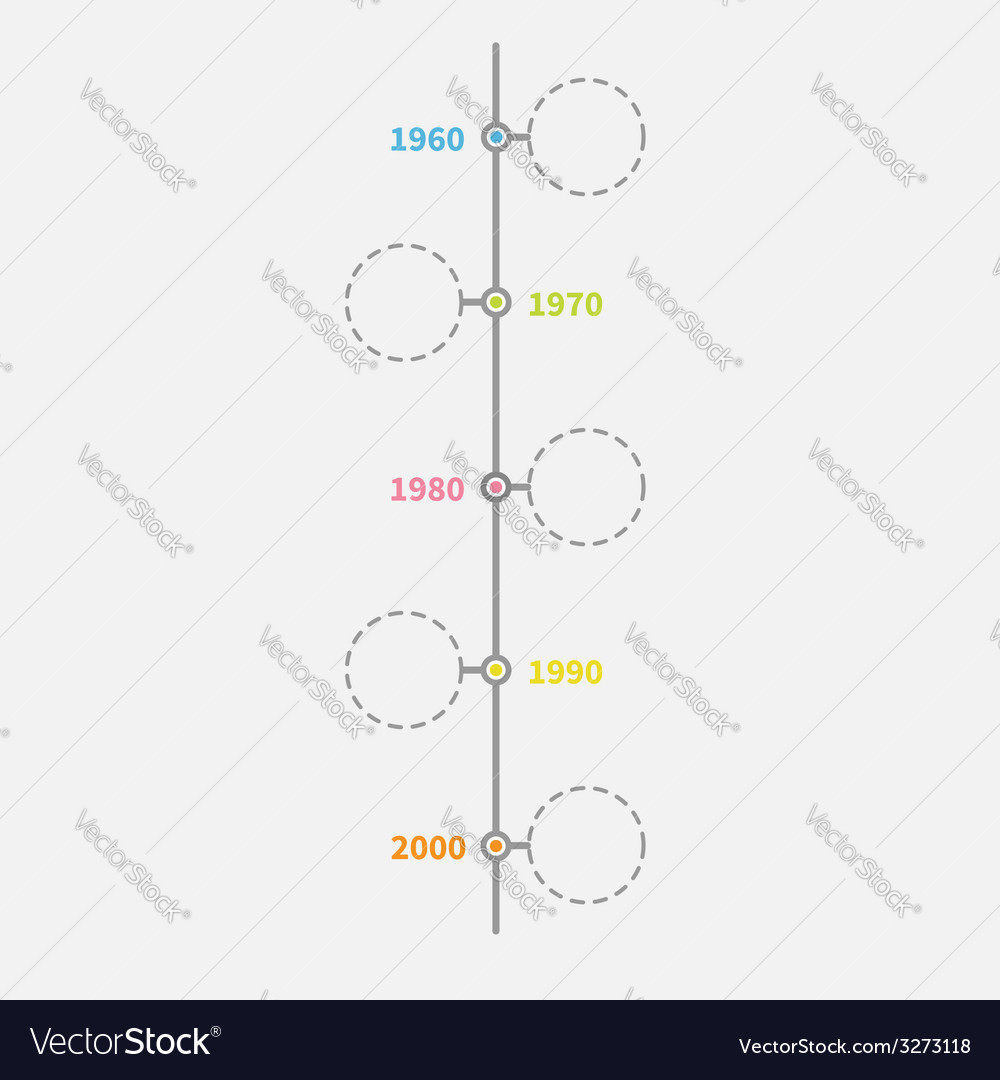 Timeline vertical infographic with empty dash line vector | Price: 1 Credit (USD $1)