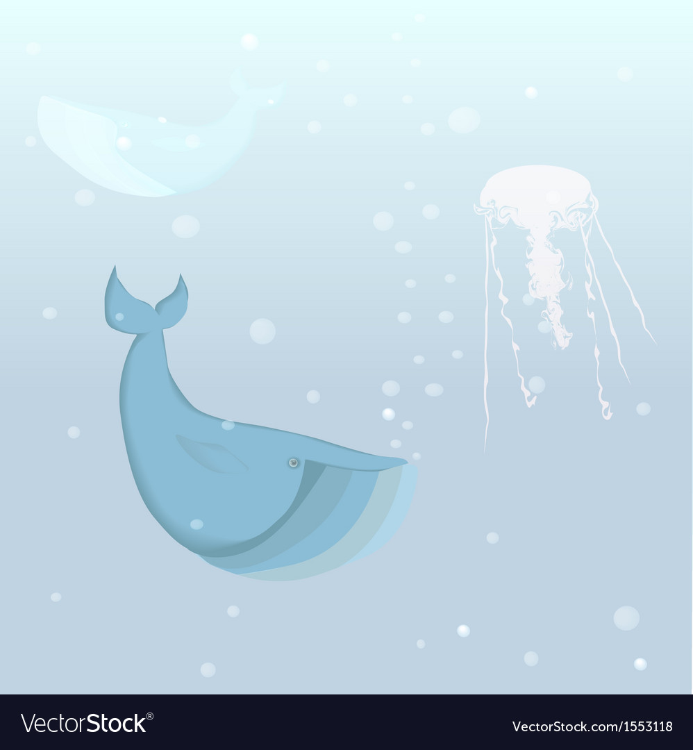 Whale and jellyfish in the ocean vector | Price: 1 Credit (USD $1)