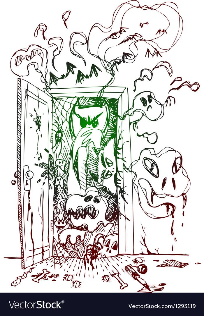 Horror open door vector | Price: 1 Credit (USD $1)