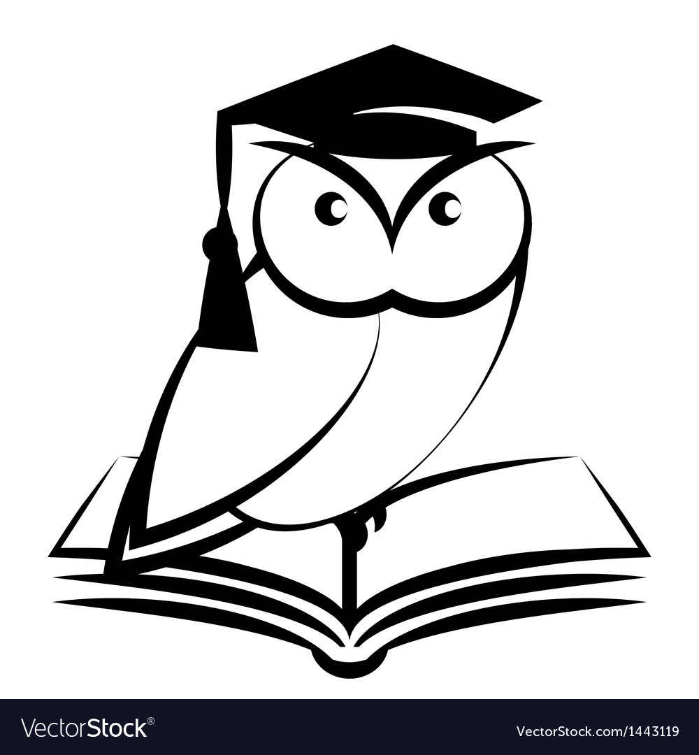 Owl with college hat and book vector | Price: 1 Credit (USD $1)