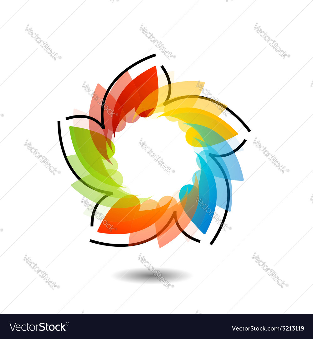 Rainbow colored floral design element or logo vector | Price: 1 Credit (USD $1)