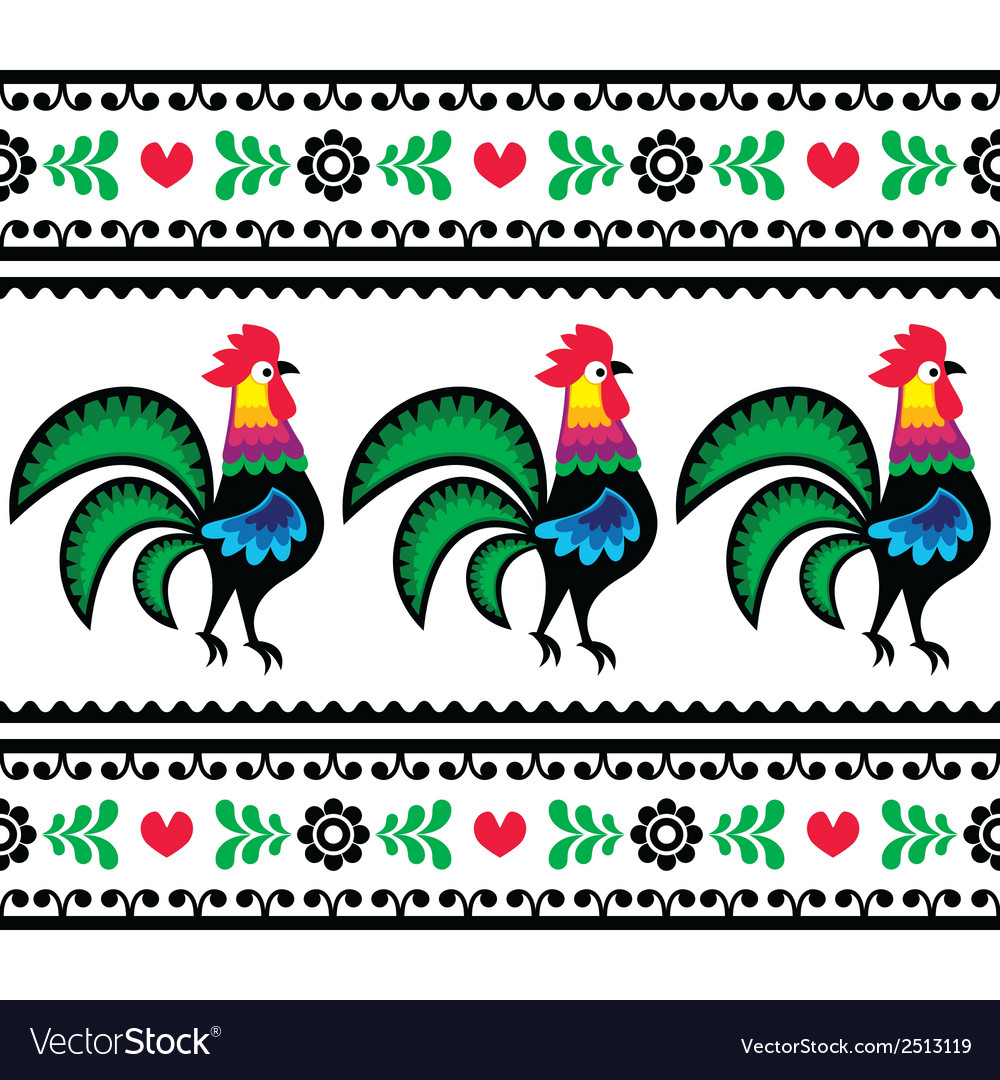 Seamless polish folk art pattern with roosters vector | Price: 1 Credit (USD $1)
