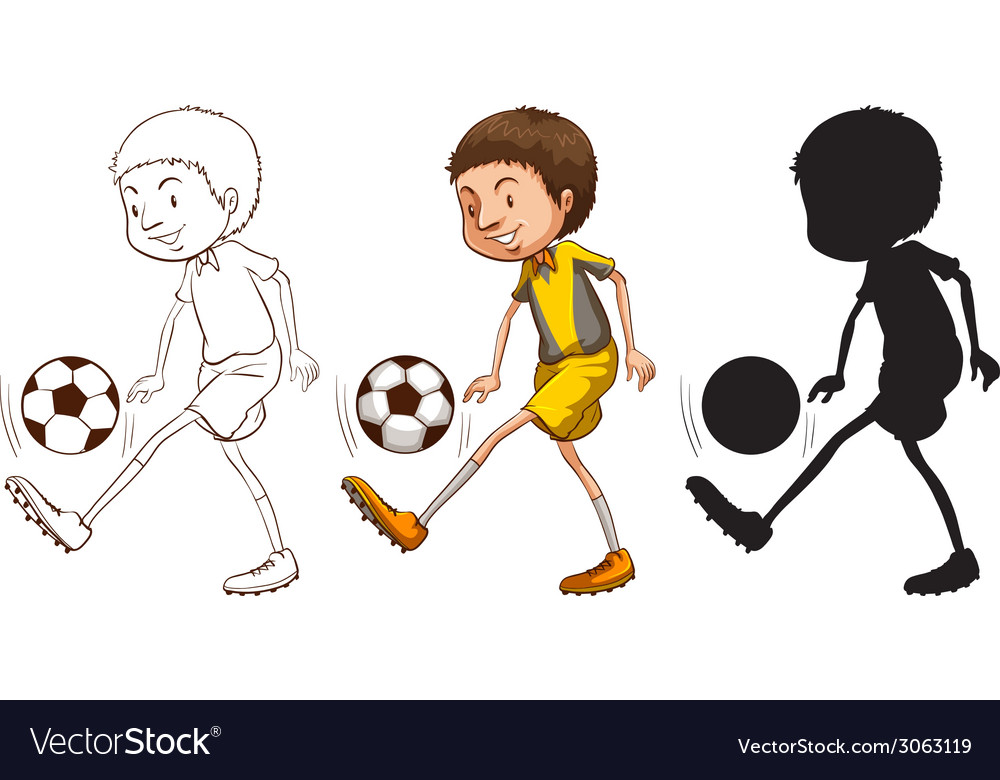Sketches of a soccer player in different colors vector | Price: 1 Credit (USD $1)