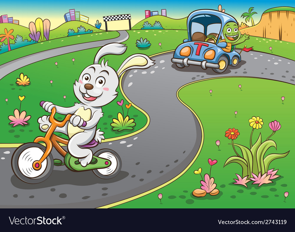 Vehicles rabbit turtur background vector | Price: 3 Credit (USD $3)