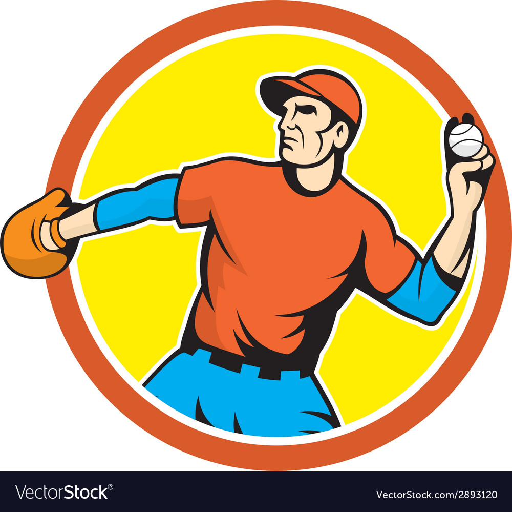 Baseball pitcher outfielder throwing ball cartoon vector | Price: 1 Credit (USD $1)
