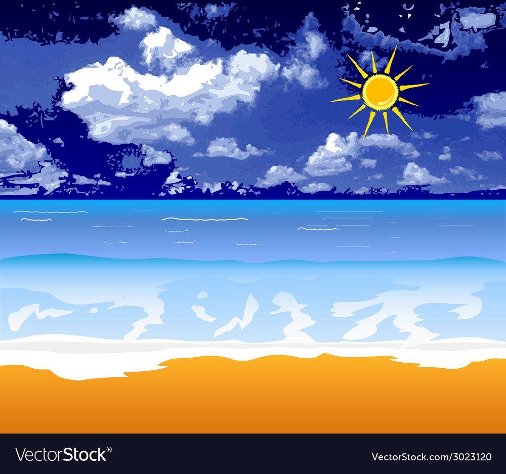 Beach with sun and cloud vector | Price: 1 Credit (USD $1)